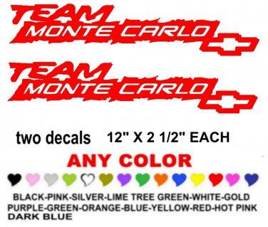 TEAM MONTE CARLO CHEVY CHEVROLET STICKER DECALS  RACE