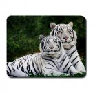 White Tigers Small Mouse Pad
