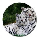 White Tigers Round Mouse Pad