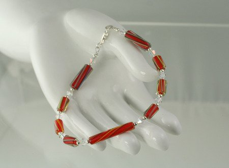 Red Striped Furnace Glass with Swarovski Crystals Bracelet Set   Artisan Hand Crafted Jewelry