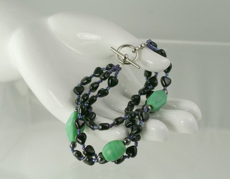 Black Heart Triple Strand with Green Czech Glass Toggle Bracelet  Artisan Hand Crafted Jewelry