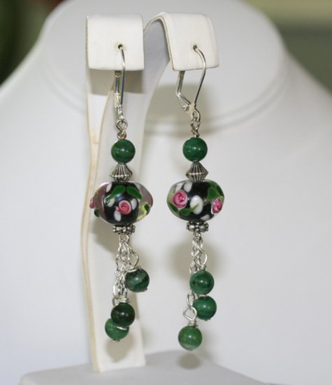 Pink Roses Lampwork Earrings with African Jade Dangles   Artisan Jewelry