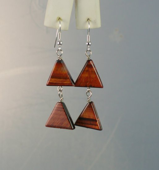 Double Triangle Red Tigers Eye Dangle Earrings  Hand Crafted