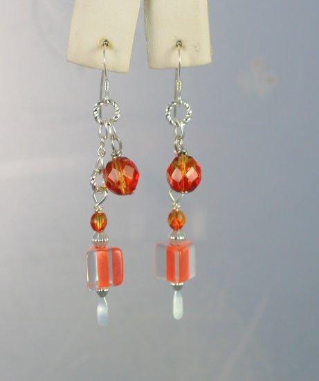 Designer Orange Furnace Glass with Swarovski Crystals Dangle Earrings  Hand Crafted