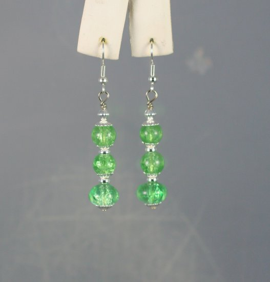 Green Czech Crackled Beads Triple Drop Dangle Earrings  Hand Crafted