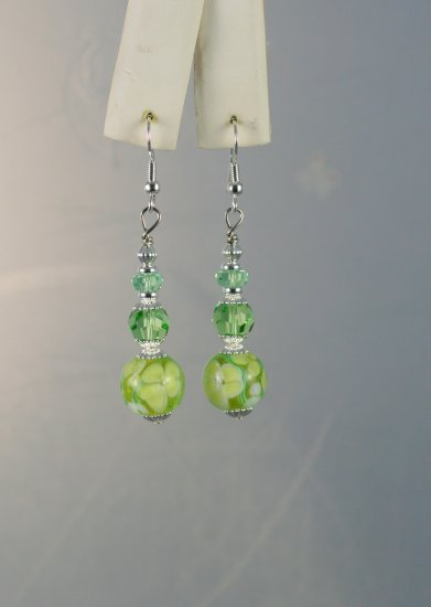 Green Pansy Lampwork Beads with Green Swarovski Crystal Dangle Earrings Hand Crafted