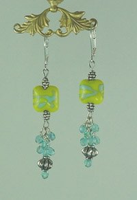 Blue & Yellow Moretti Lampwork with Czech Glass Earrings   Hand Crafted Jewelry