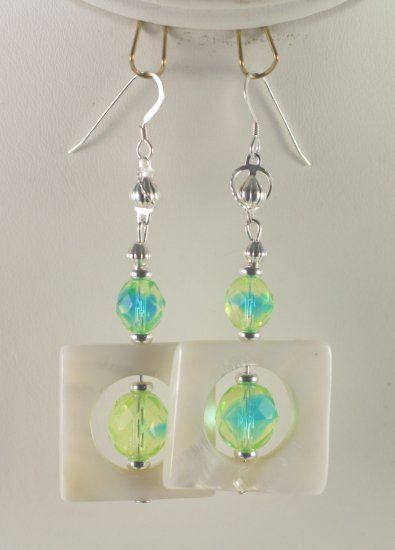 Sterling Silver Mother of Pearl  with Yellow and Teal Czech Glass Earrings   Hand Crafted Jewelry