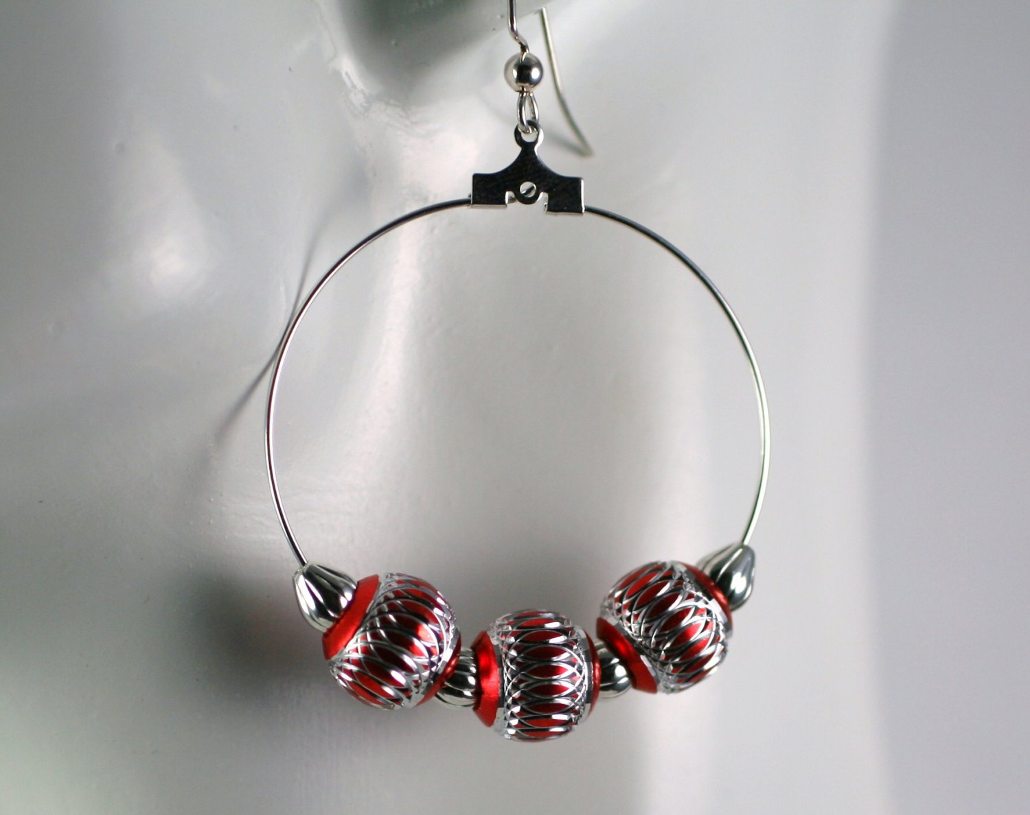 Silver Hoop Earrings with Silver and Red Beads 1.5 in. Diameter  Handcrafted Jewelry