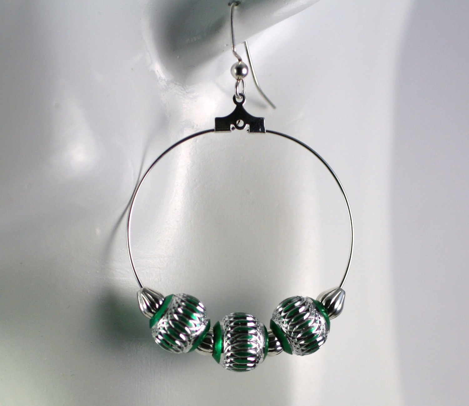 Silver Hoop Earrings with Silver and Green Beads 1.5 in. Diameter  Handcrafted Jewelry