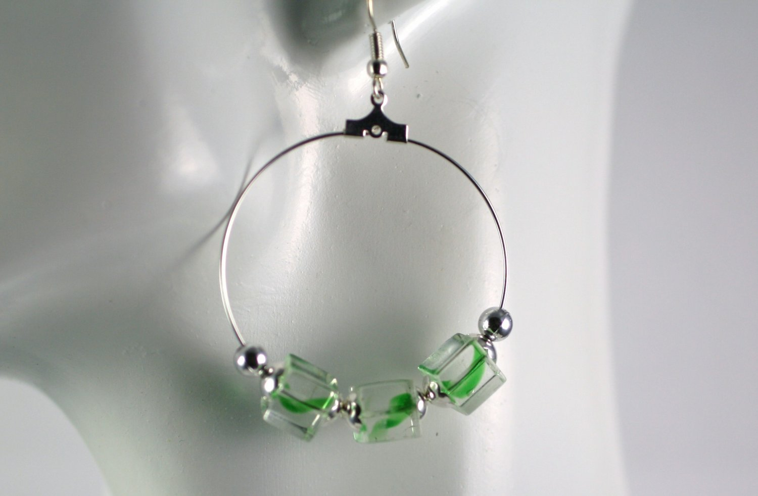 Silver Hoop Earrings with Green Swirl Cube Beads 1.5 in. Diameter  Handcrafted Jewelry