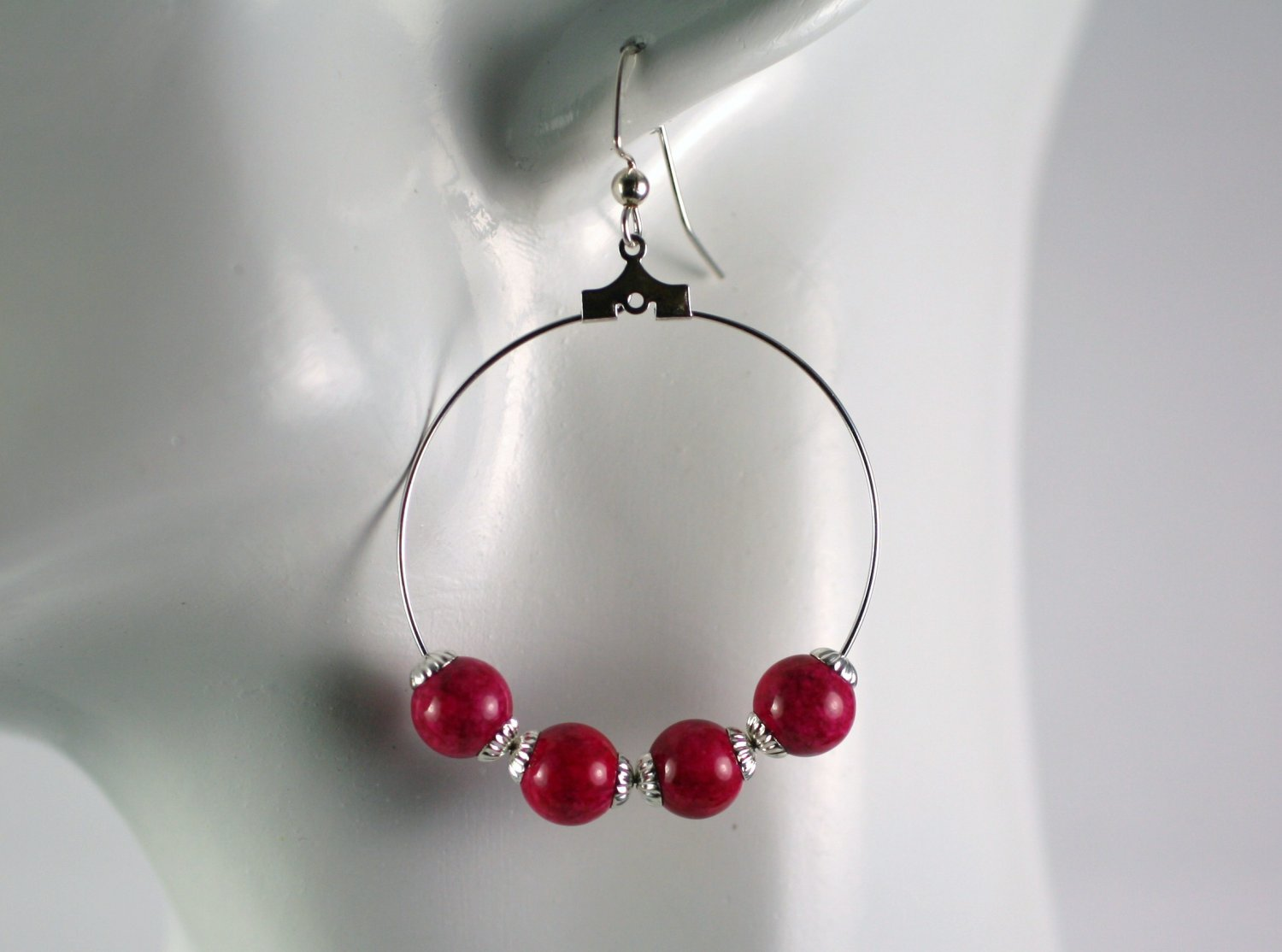 Silver Hoop Earrings with Fushia Pink Fossil Beads 1.5 in.  Handcrafted Jewelry