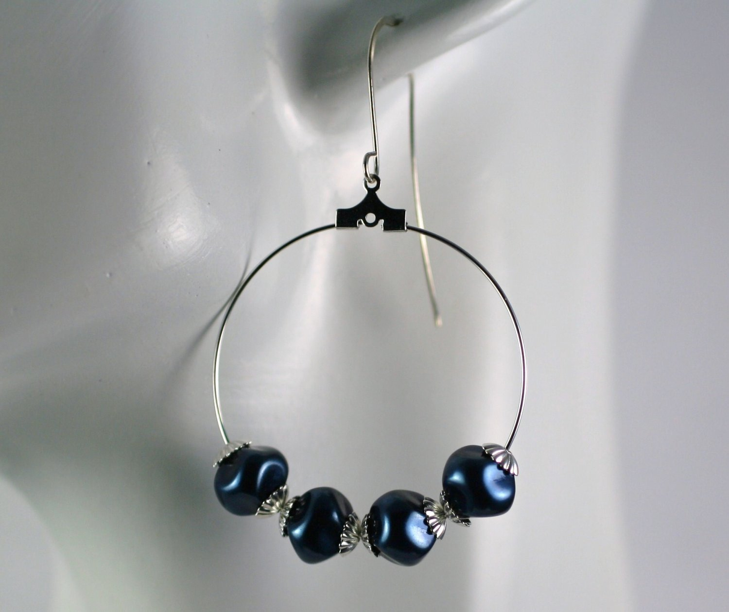 Silver Hoop Earrings with Dark Blue Faux Pearl Beads 1.5 in.  Handcrafted Jewelry