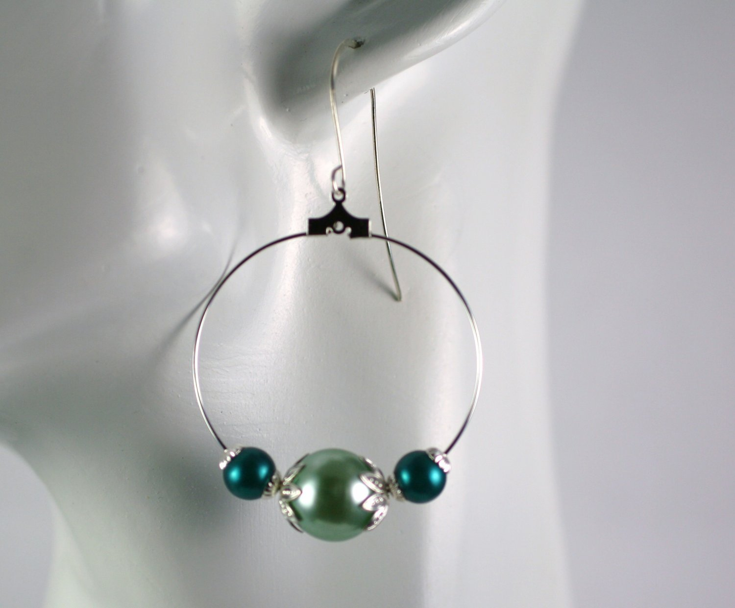 Silver Hoop Earrings with Green Faux Pearl Beads 1.5 in.  Handcrafted Jewelry