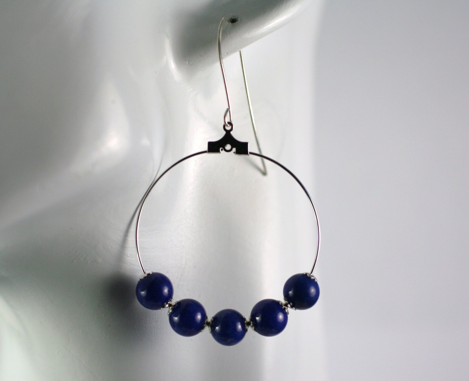 Silver Hoop Earrings with Dark Blue Mountain Jade Beads 1.5 in.  Handcrafted Jewelry