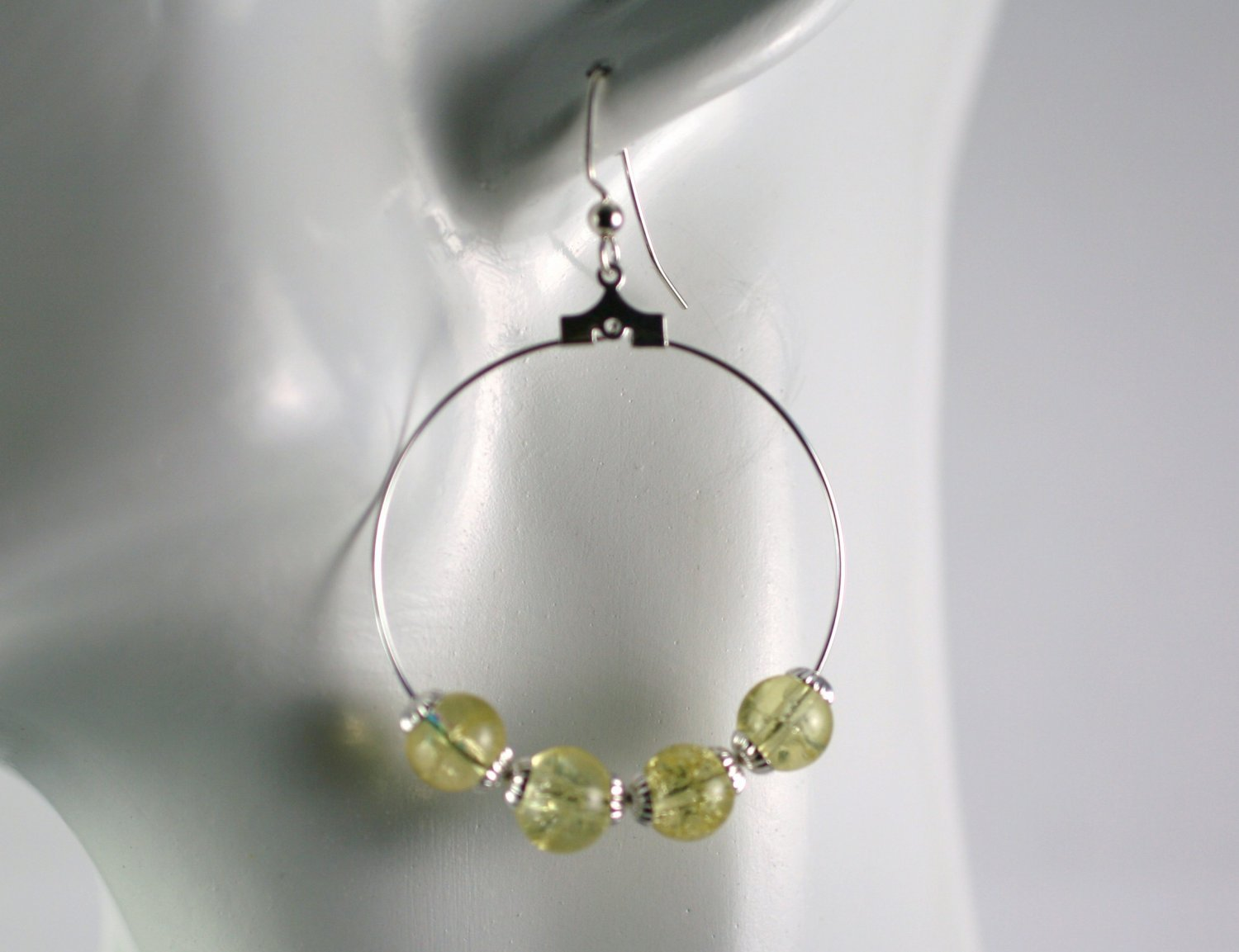 Silver Hoop Earrings with Yellow Crackled Glass Beads 1.5 in.  Handcrafted Jewelry