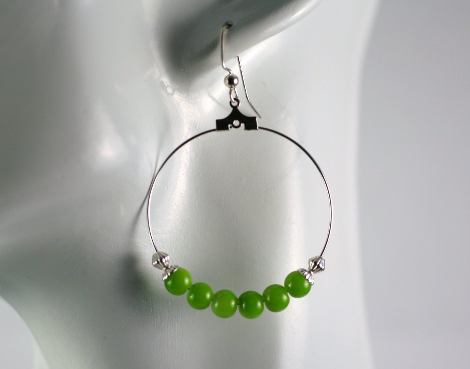 Silver Hoop Earrings with Green Glass Beads 1.5 in.  Handcrafted Jewelry