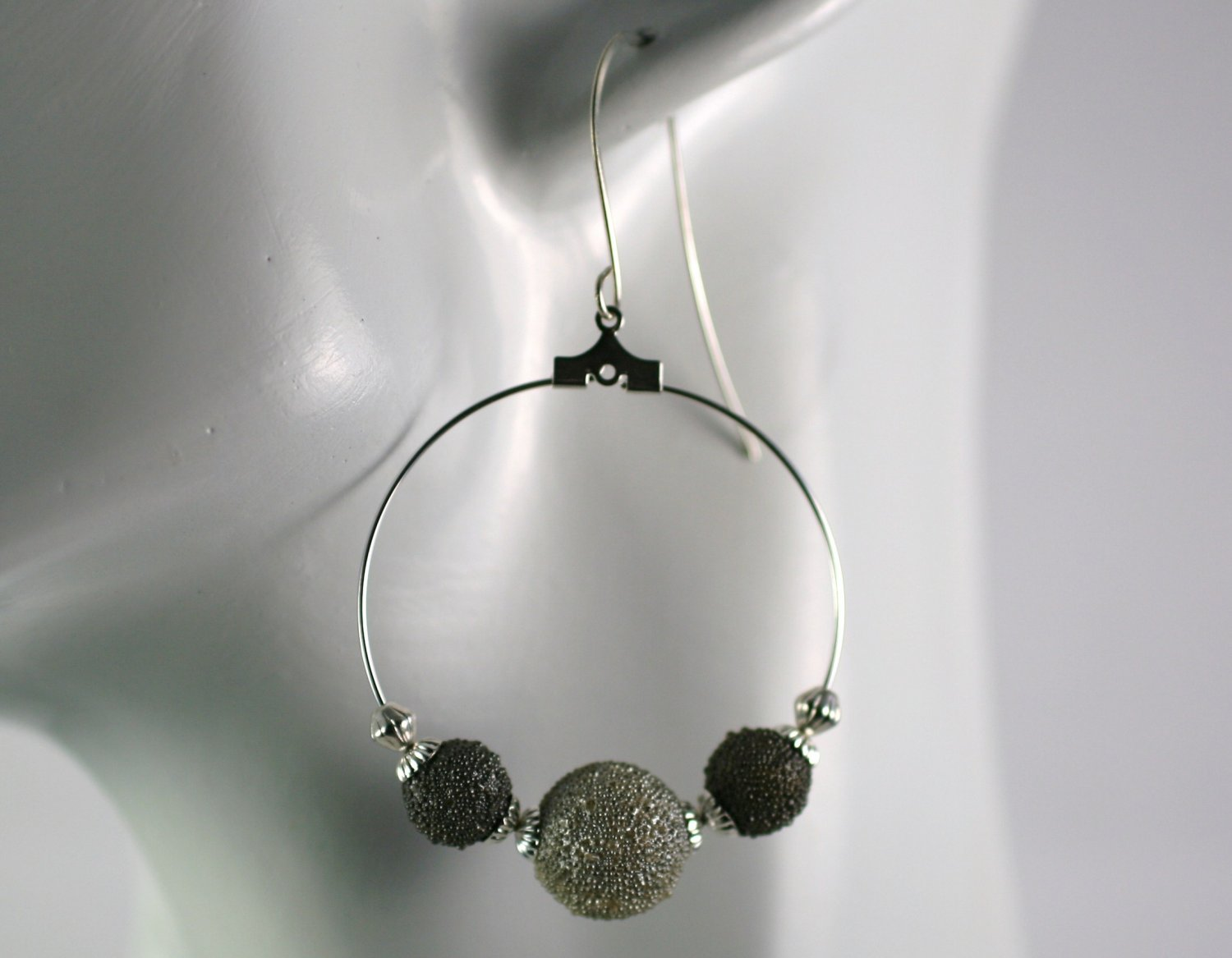 Silver Hoop Earrings with Gray Bumpy Beads 1.5 in.  Handcrafted Jewelry