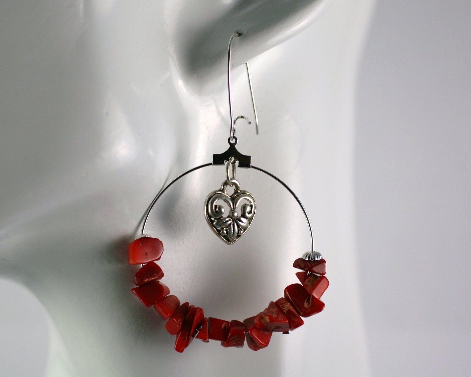 Silver Hoop Earrings with Red Coral Chip Beads 1.5 in.  Handcrafted Jewelry