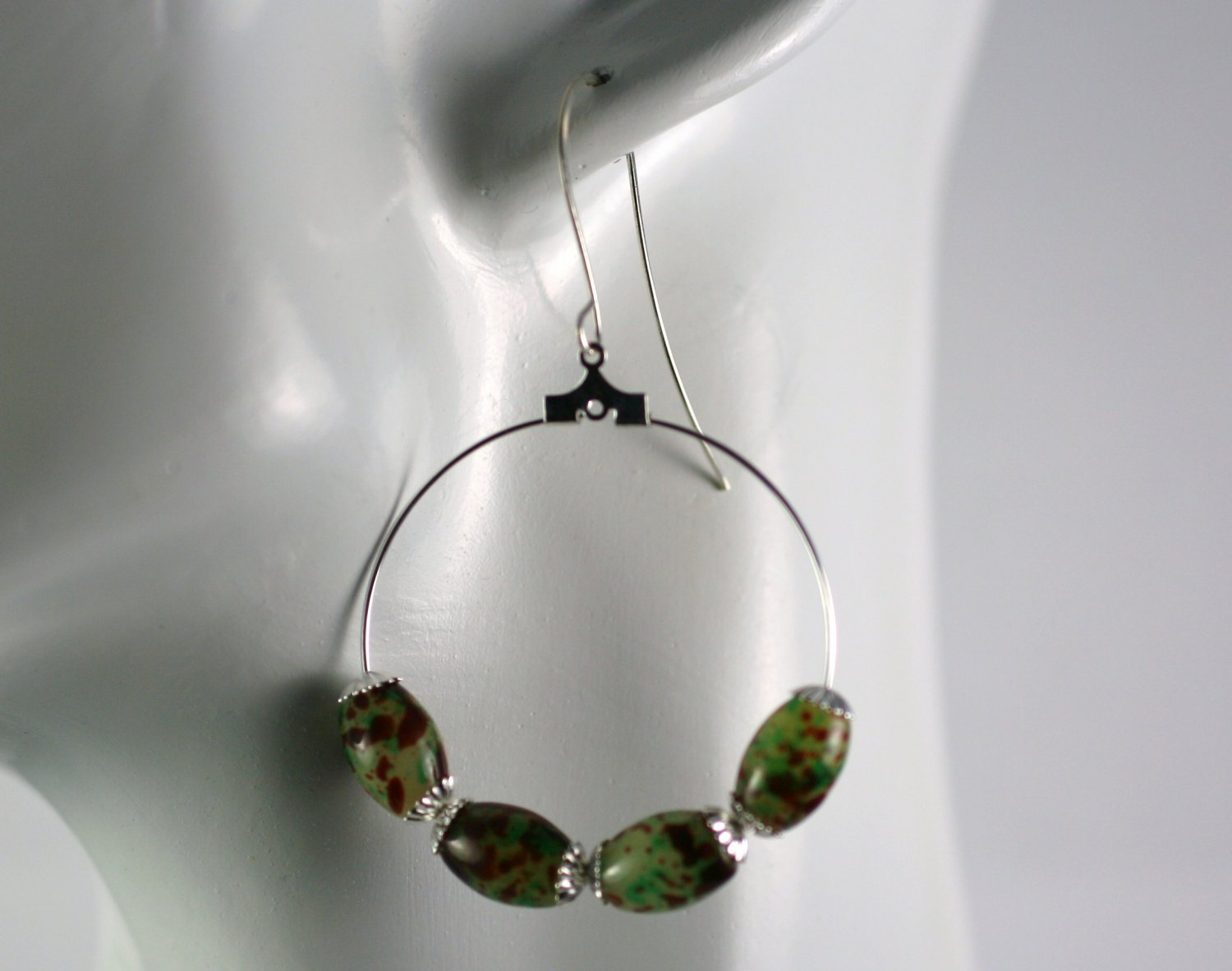 Silver Hoop Earrings with Green and Brown Glass Beads 1.5 in.  Handcrafted Jewelry