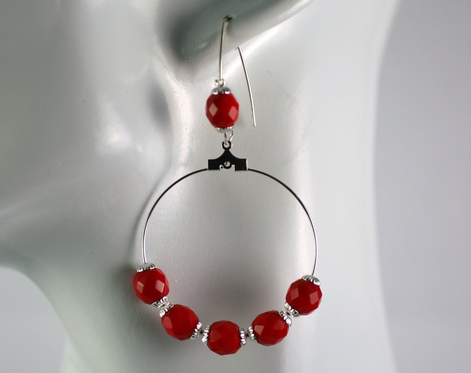 Silver Hoop Earrings with Red Glass Vintage Beads 1.5 in.  Handcrafted Jewelry