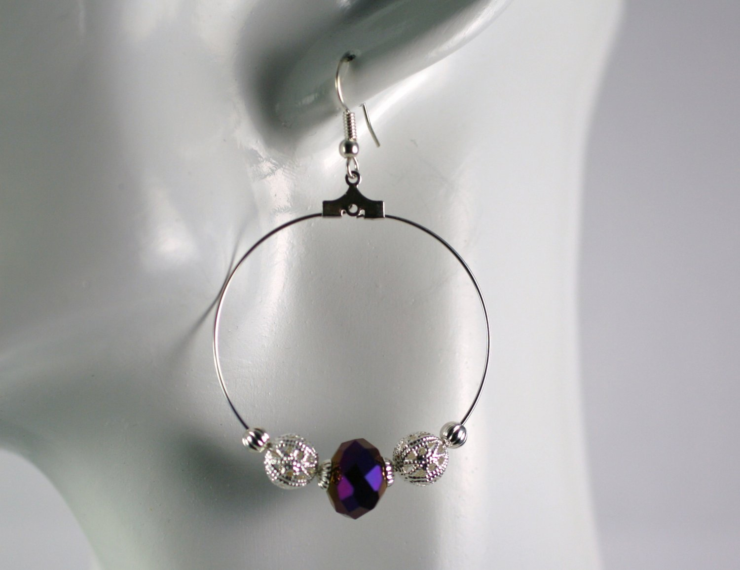 Silver Hoop Earrings with Purple Glass Beads 1.5 in.  Handcrafted Jewelry