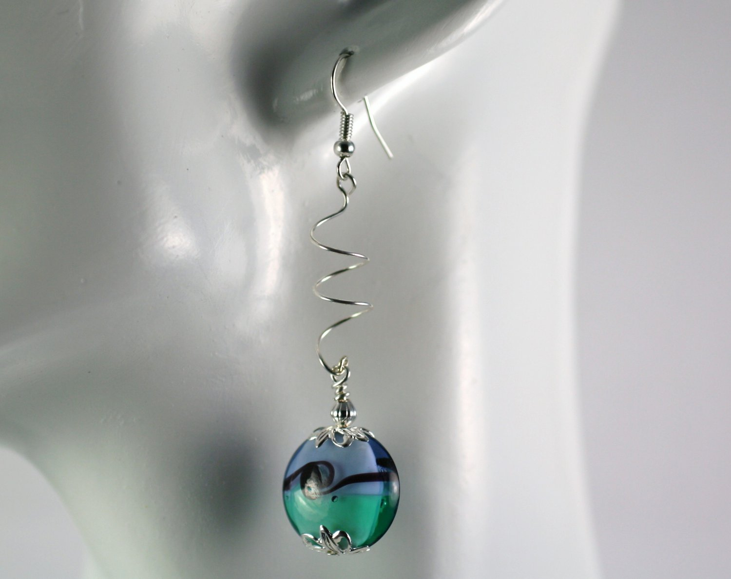 Silver Spiral Drop Dangle Earrings with Blue and Green Lampwork   Handcrafted Jewelry