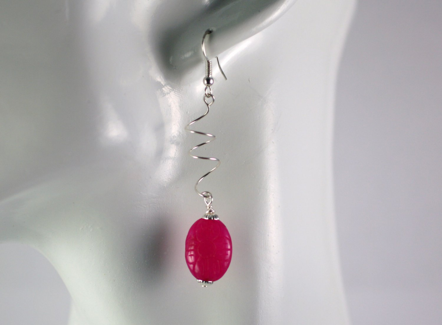Silver Spiral Drop Dangle Earrings with  Fushia Quartz Beads Handcrafted Jewelry