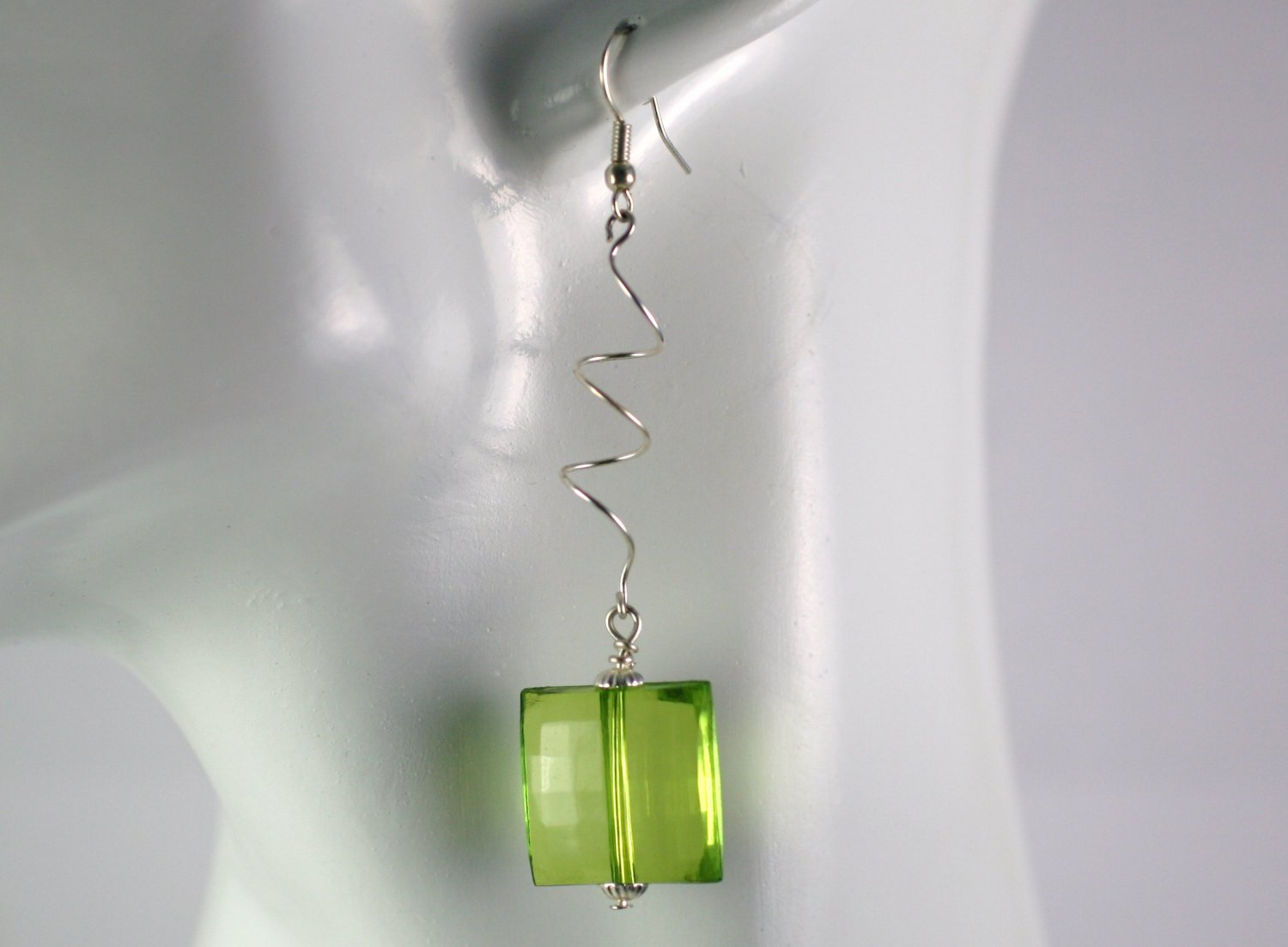 Silver Spiral Drop Dangle Earrings with  Green  Beads Handcrafted Jewelry