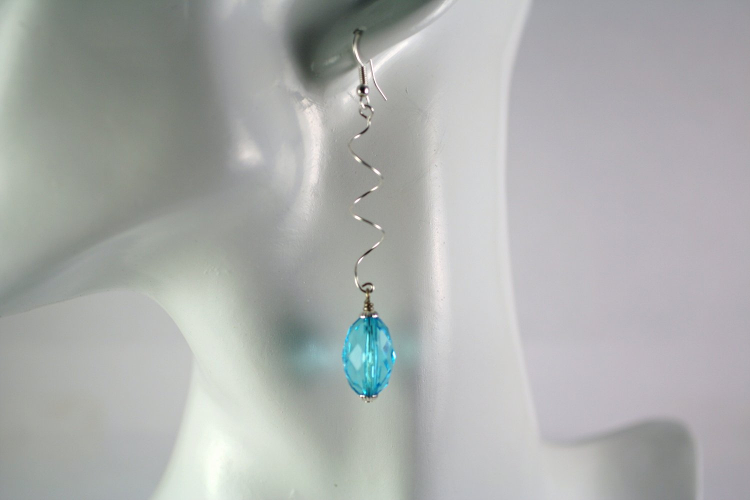 Silver Spiral Drop Dangle Earrings with  Light Blue Oval Beads Handcrafted Jewelry