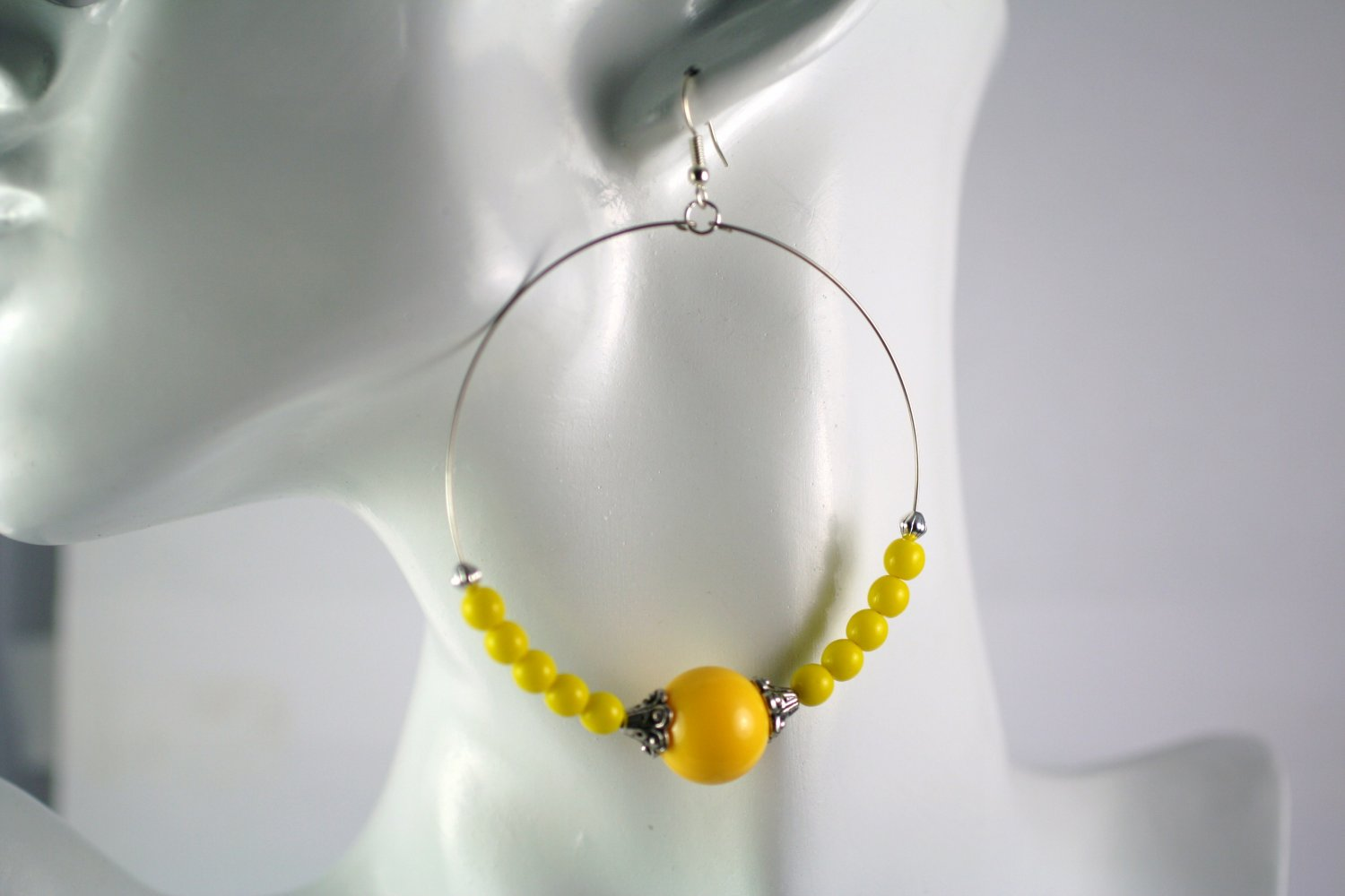 Large Silver Hoop Earrings with Yellow Beads 2.5 in.  Handcrafted Jewelry