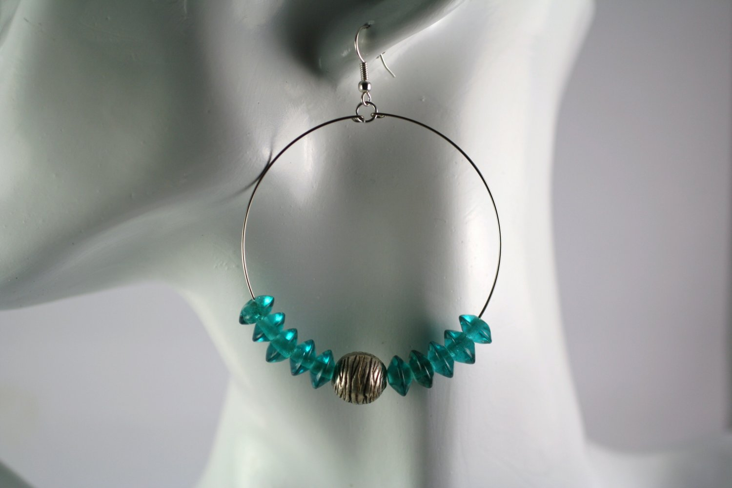 Large Silver Hoop Earrings with Blue Glass Saucer Beads  2 in.  Handcrafted Jewelry