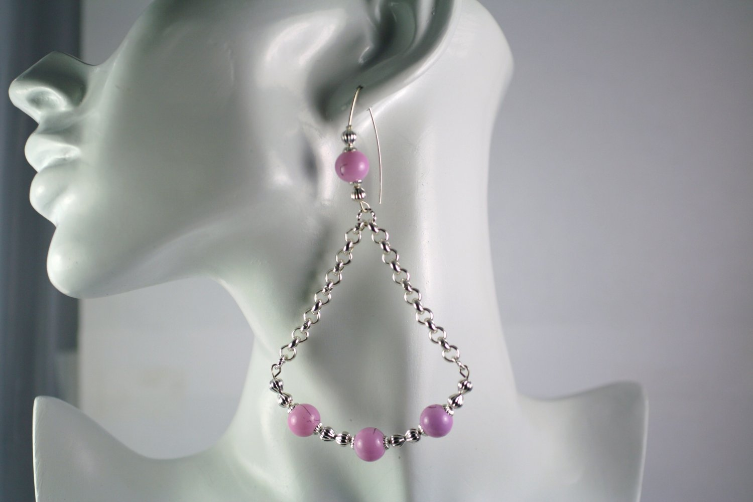 Diva Large Silver Earrings with Purple Glass Beads  4.50 inch Drop  Handcrafted Jewelry