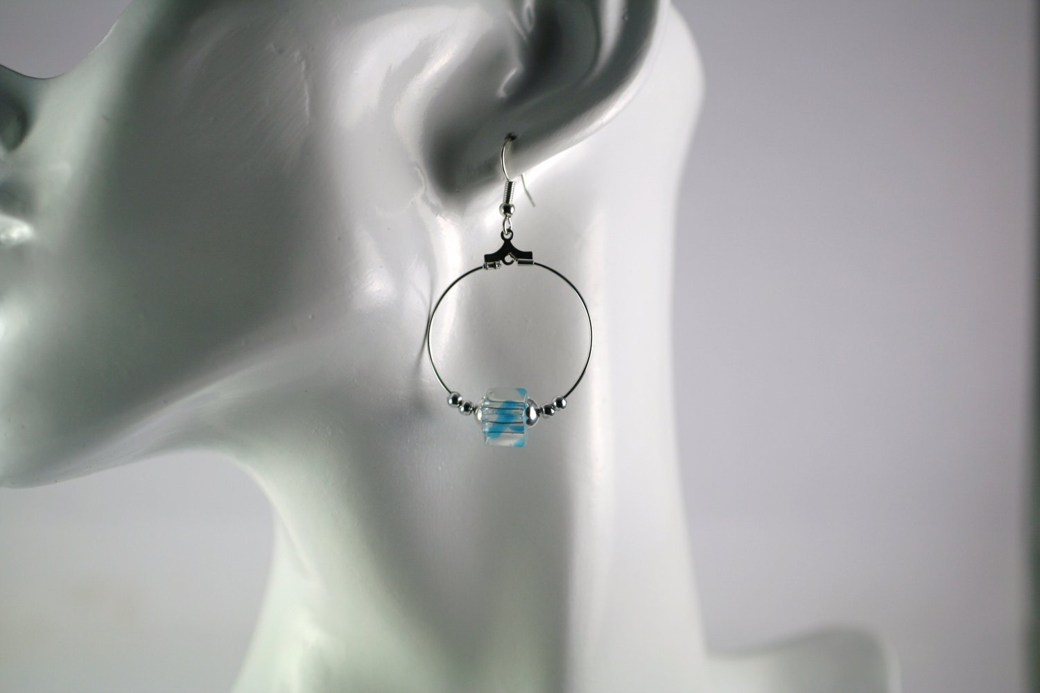 Silver Hoop Earrings with Blue Swirl Cube Beads 1 in. Diameter  Handcrafted Jewelry