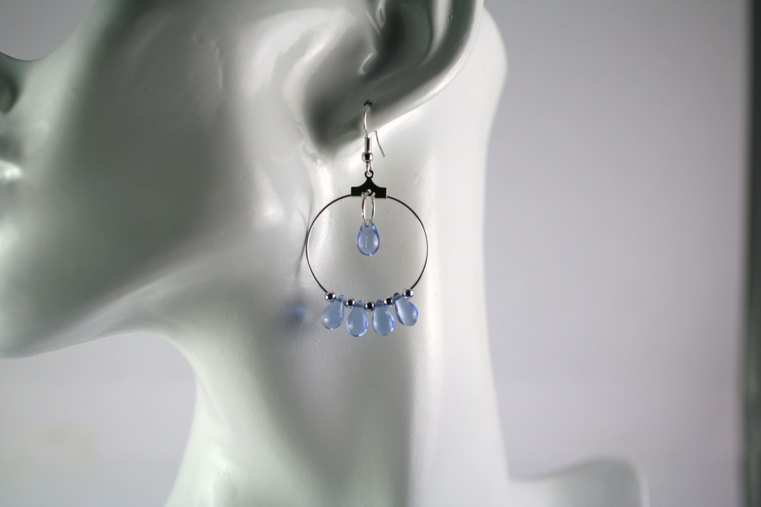 Silver Hoop Earrings with Light BlueTear Drop Beads 1 in.  Handcrafted Jewelry