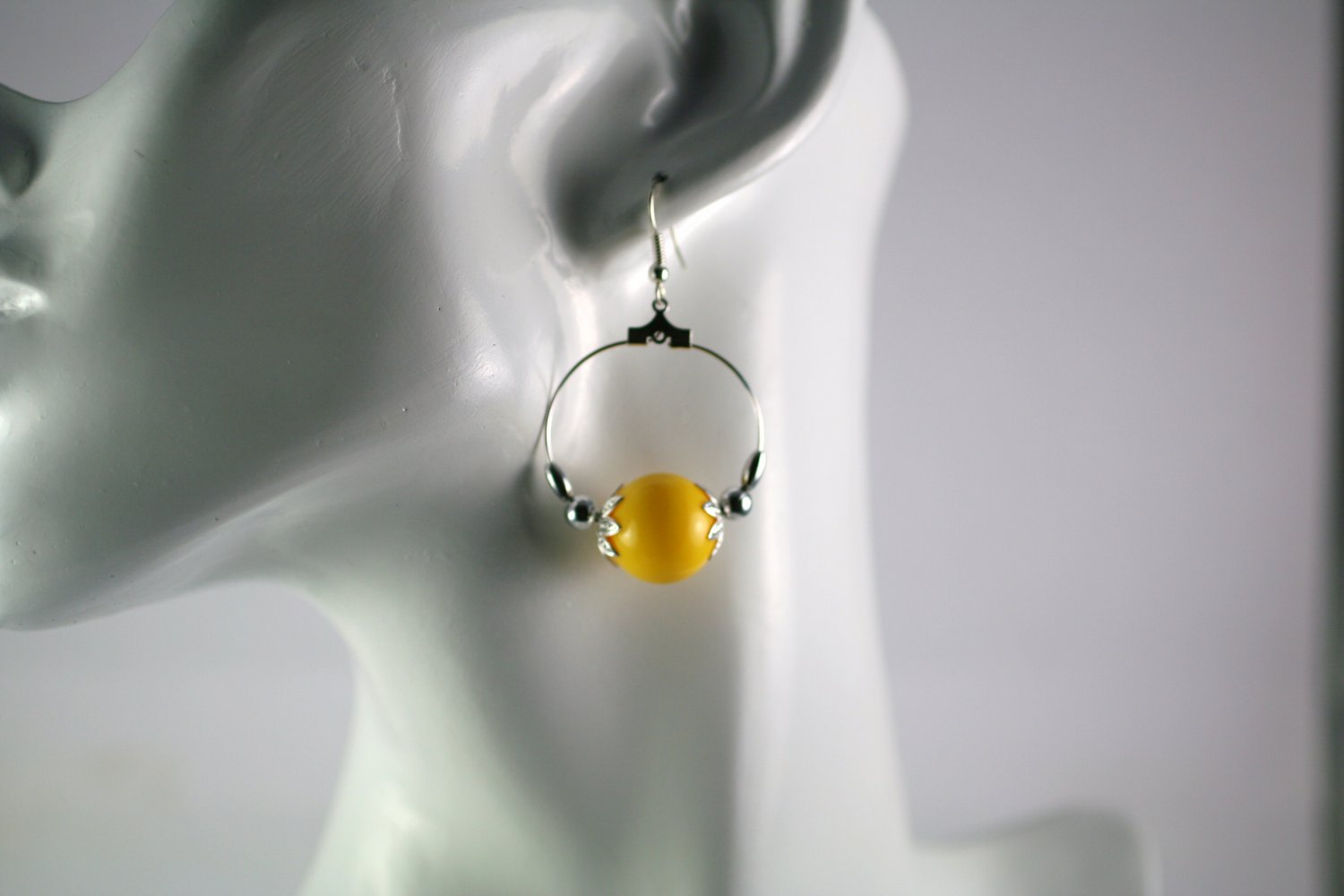 Silver Hoop Earrings with  Yellow Vintage Beads 1 in.  Handcrafted Jewelry
