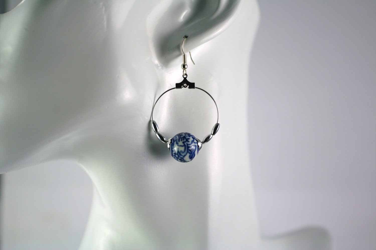 Silver Hoop Earrings with Asian Design Porcelain Beads 1 in.  Handcrafted Jewelry