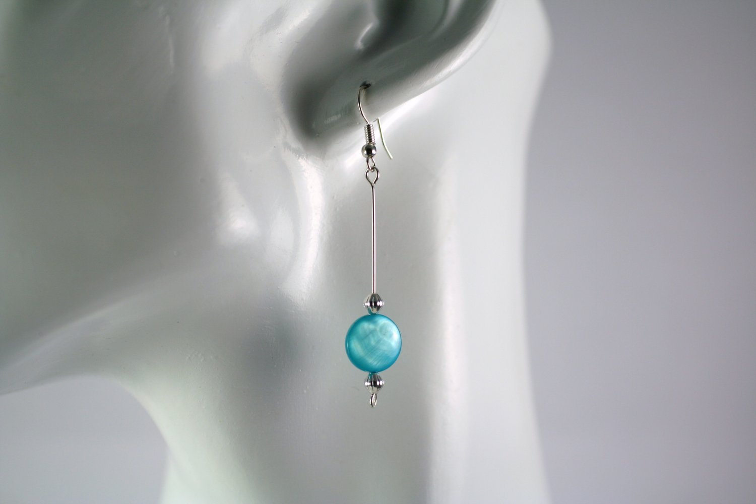 Silver Straight Drop Dangle Earrings with  Blue Shell Beads Handcrafted Jewelry