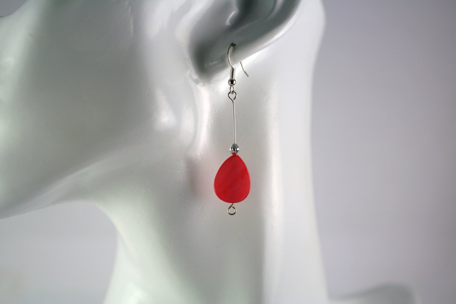 Silver Straight Drop Dangle Earrings with Coral Colored Shell Beads Handcrafted Jewelry