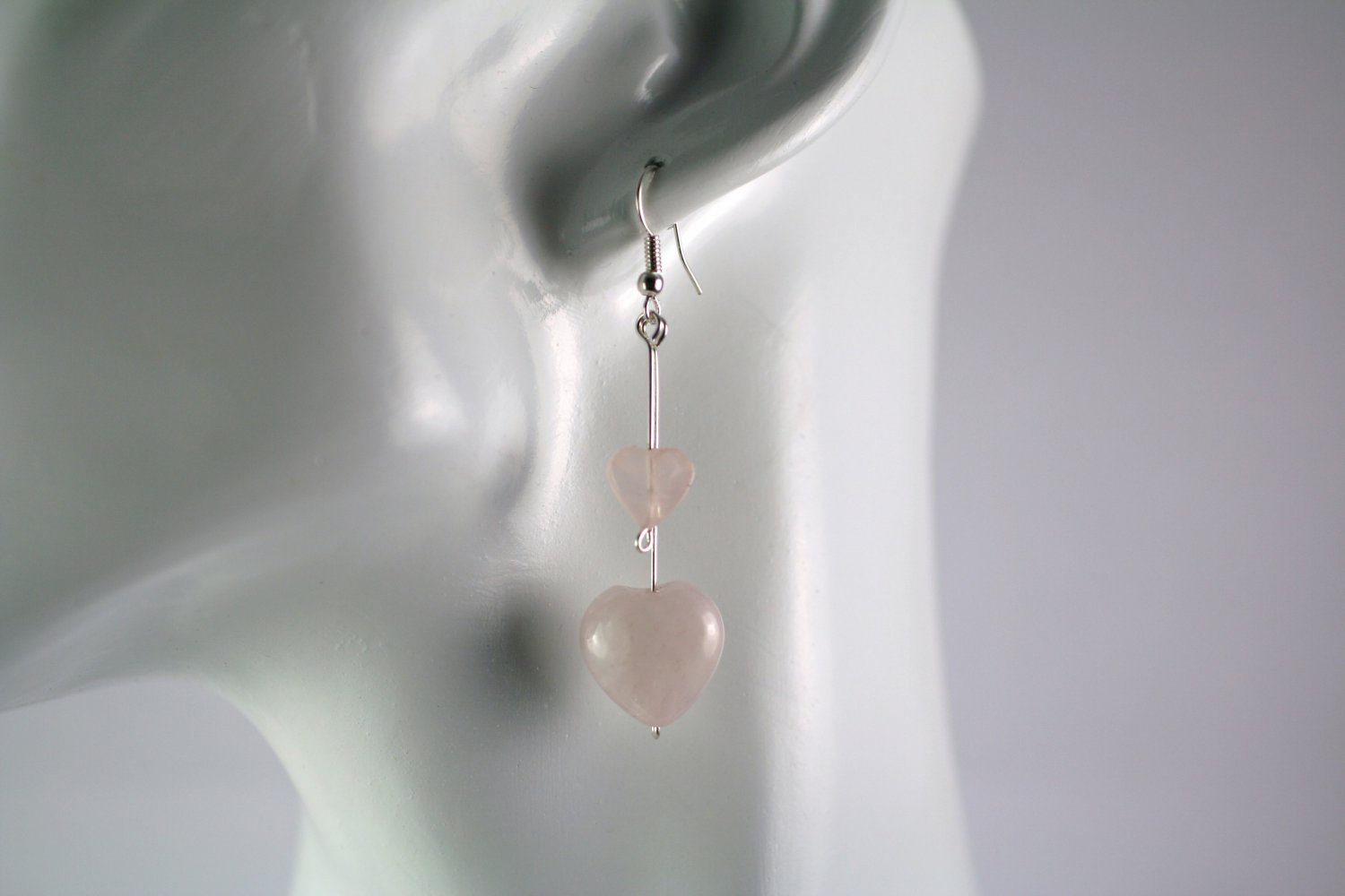 Silver Straight Drop Dangle Earrings with Rose Quartz Hearts Beads Handcrafted Jewelry