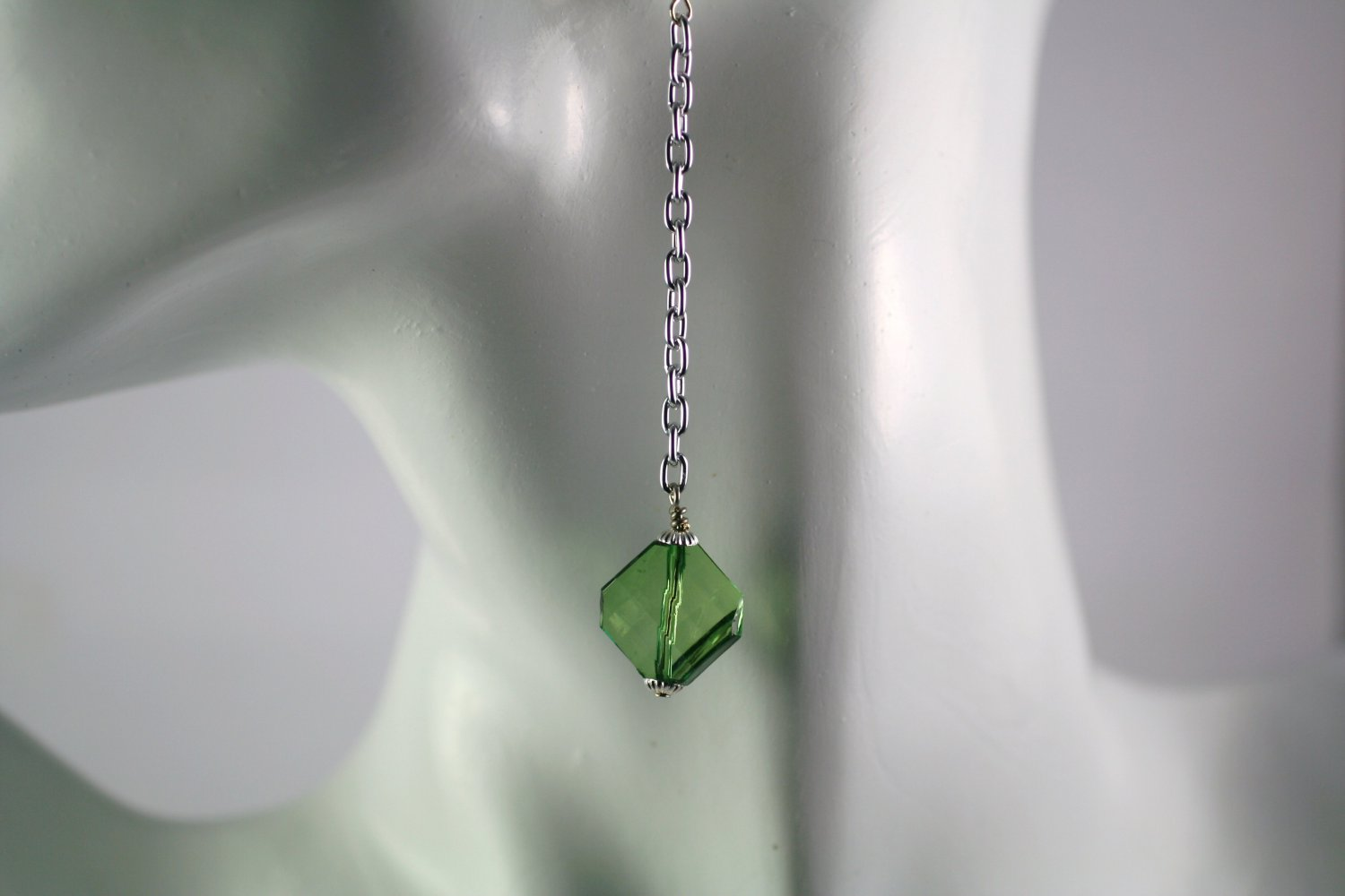 Silver Chain Drop Dangle Earrings with  Green Triangle  Beads Handcrafted Jewelry