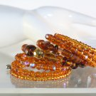 Wrap Bracelet Shades of Brown Lampwork and Czech Glass Hand Crafted Jewelry