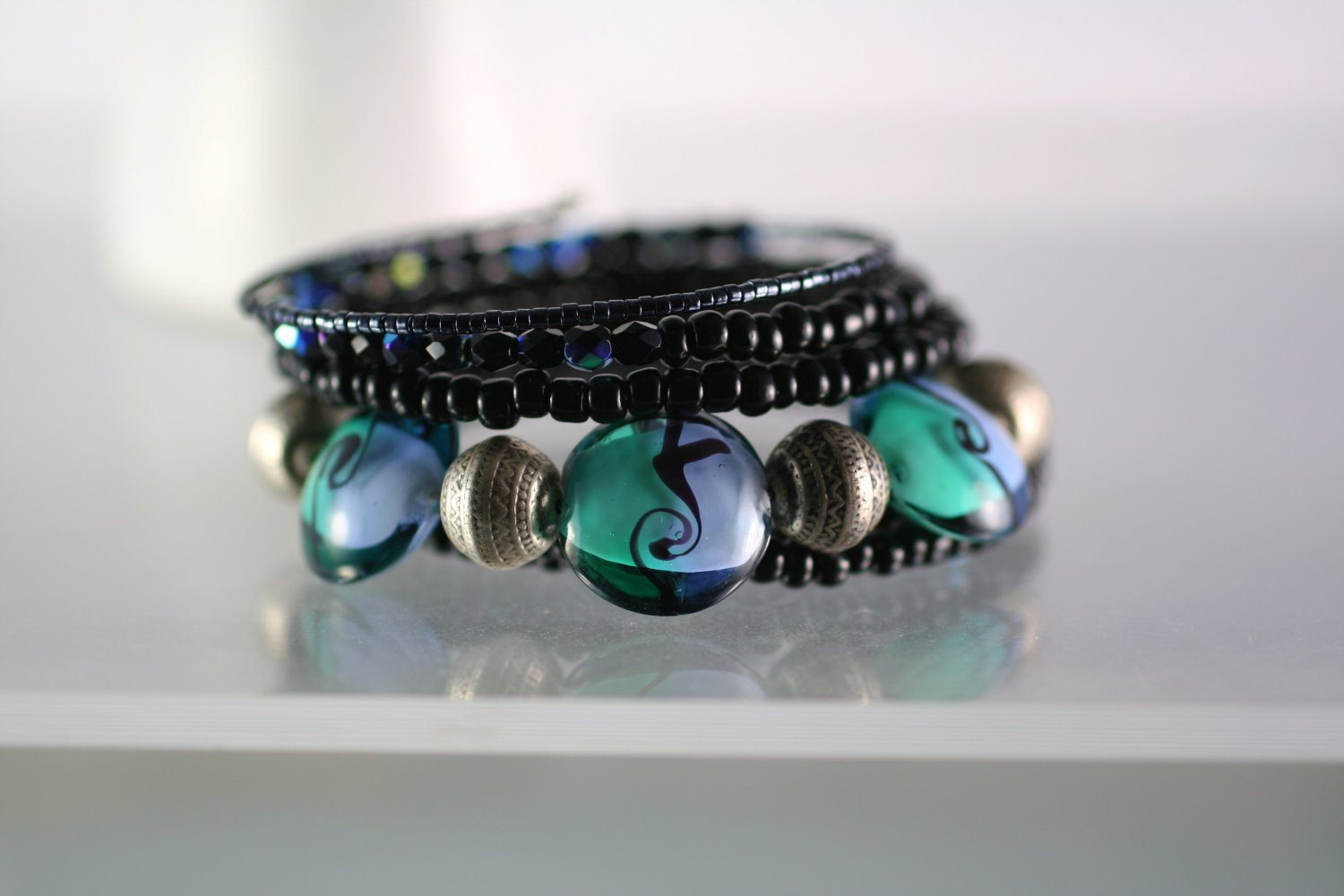 Black Beaded Wrap Bracelet with Lampwork Art Glass Focal Beads Hand Crafted Jewelry