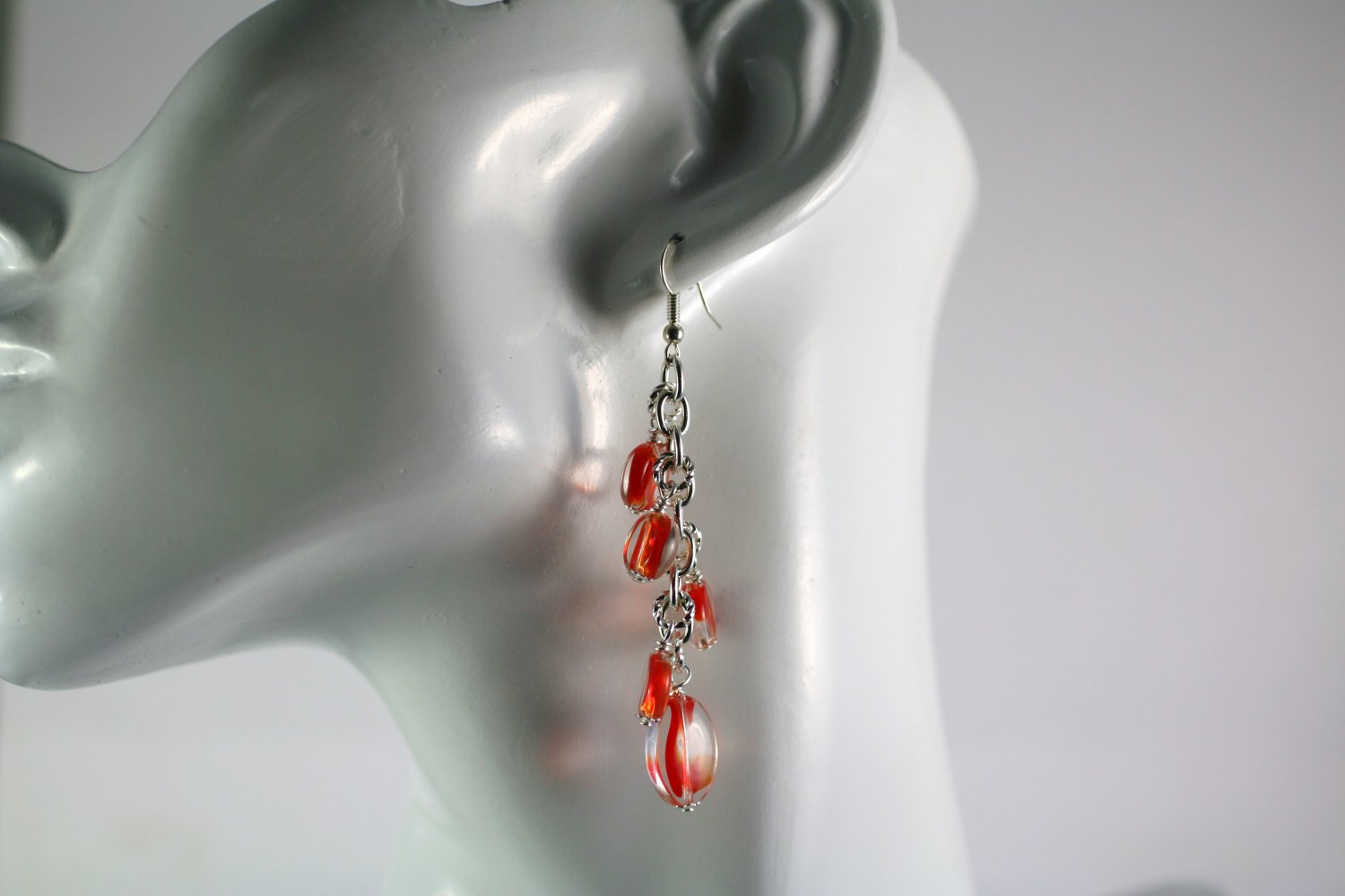 Silver and Red Art Glass Beaded Chain Cluster Earrings  Handmade Jewelry
