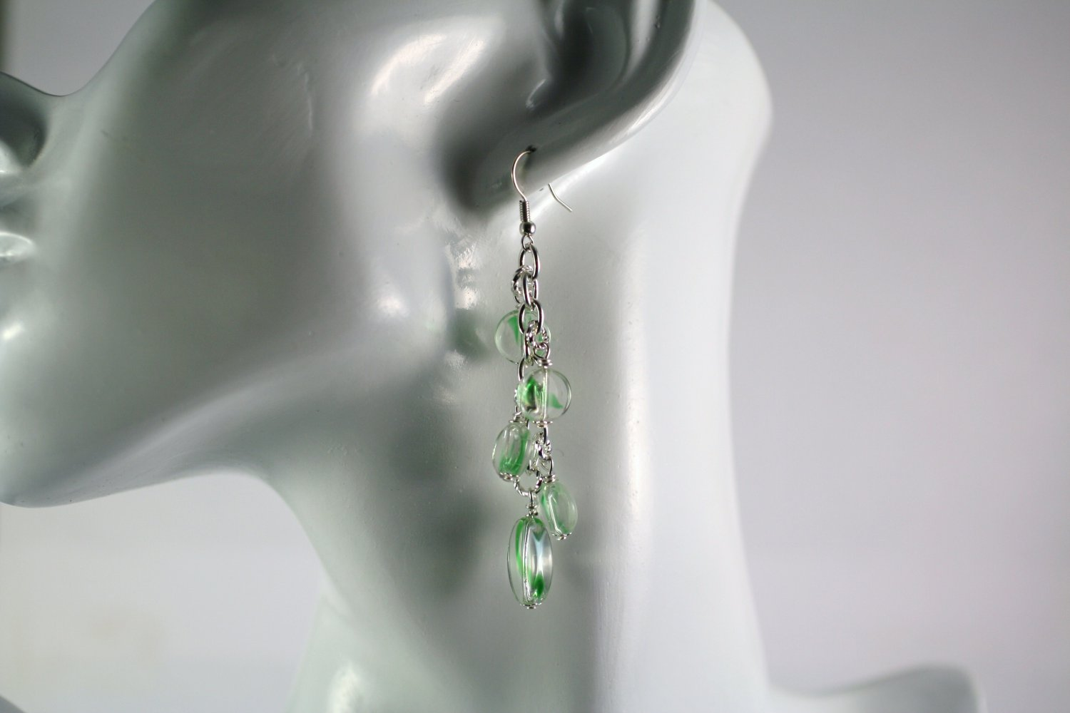 Silver and Green Art Glass Beaded Chain Cluster Earrings  Handmade Jewelry