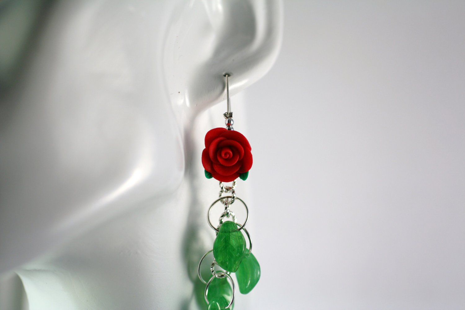 Silver and Red Roses with Green Leaf Cluster Earrings  Handmade Jewelry