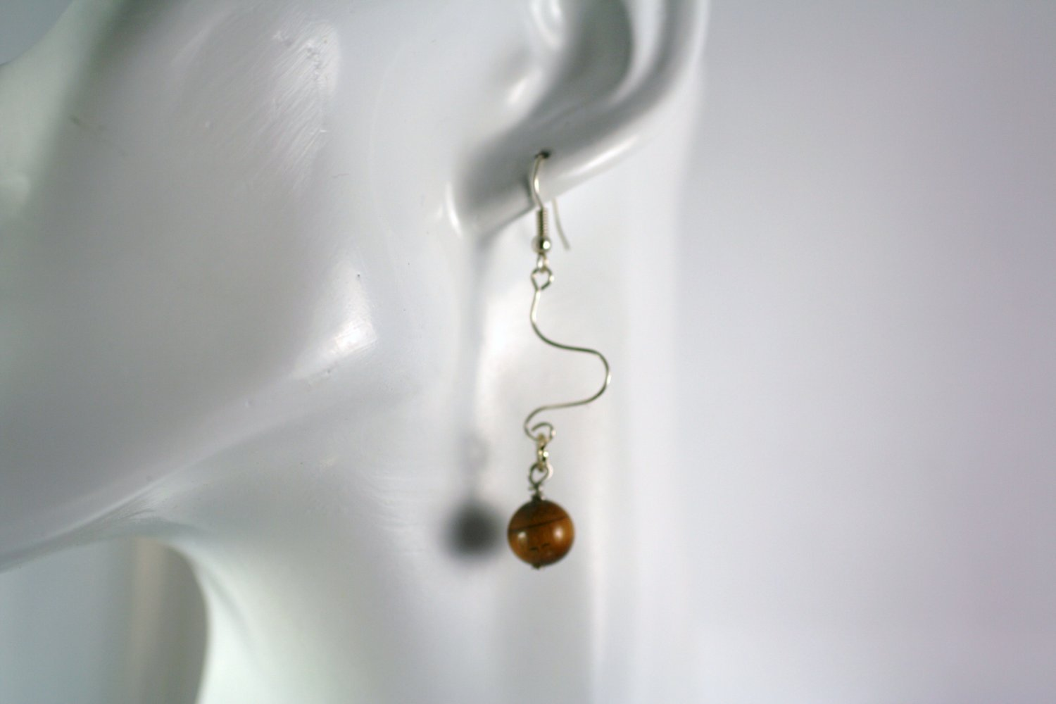 Silver Dangle Wavy Drop Earrings with Tigers Eye Beads     Handcrafted Jewelry