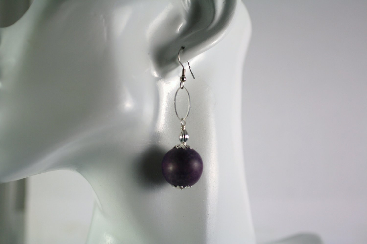 Silver and Purple Vintage Wood Beads Drop Earrings Handcrafted Jewelry