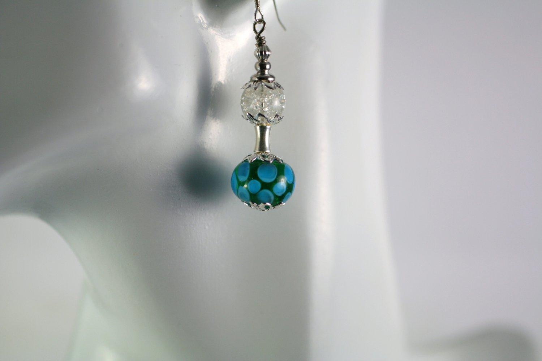 Teal Blue Lampwork  Silver Dangle Earrings Handcrafted Jewelry
