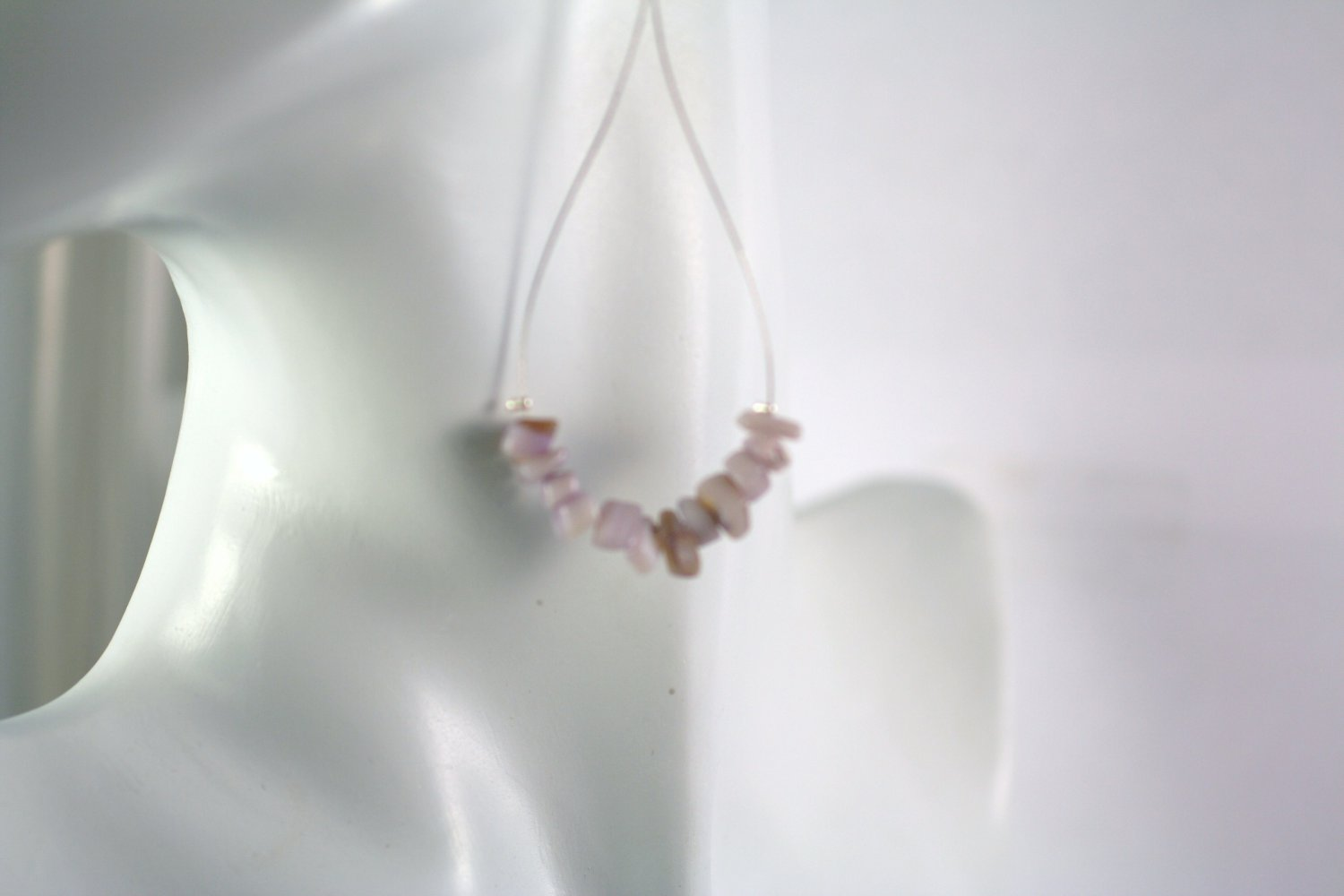 Silver Teardrop Shape Purple Mother of Pearl Beaded  Earrings     Handcrafted Jewelry